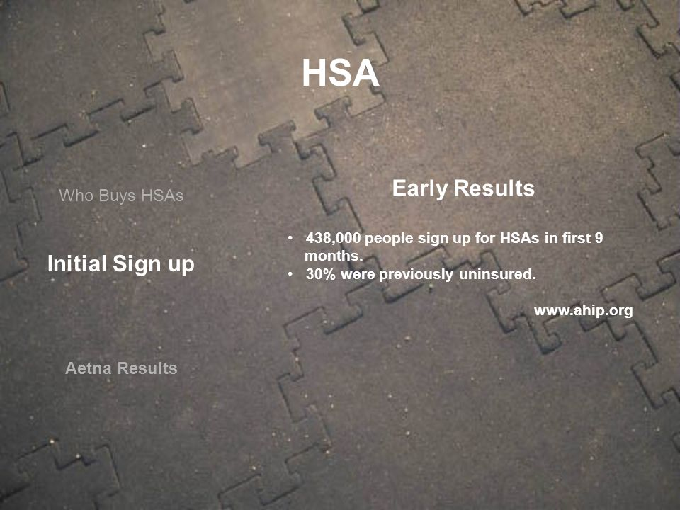 Who Buys HSAs Aetna Results Early Results 438,000 people sign up for HSAs in first 9 months. 30% were previously uninsured. www.ahip.org HSA Initial S