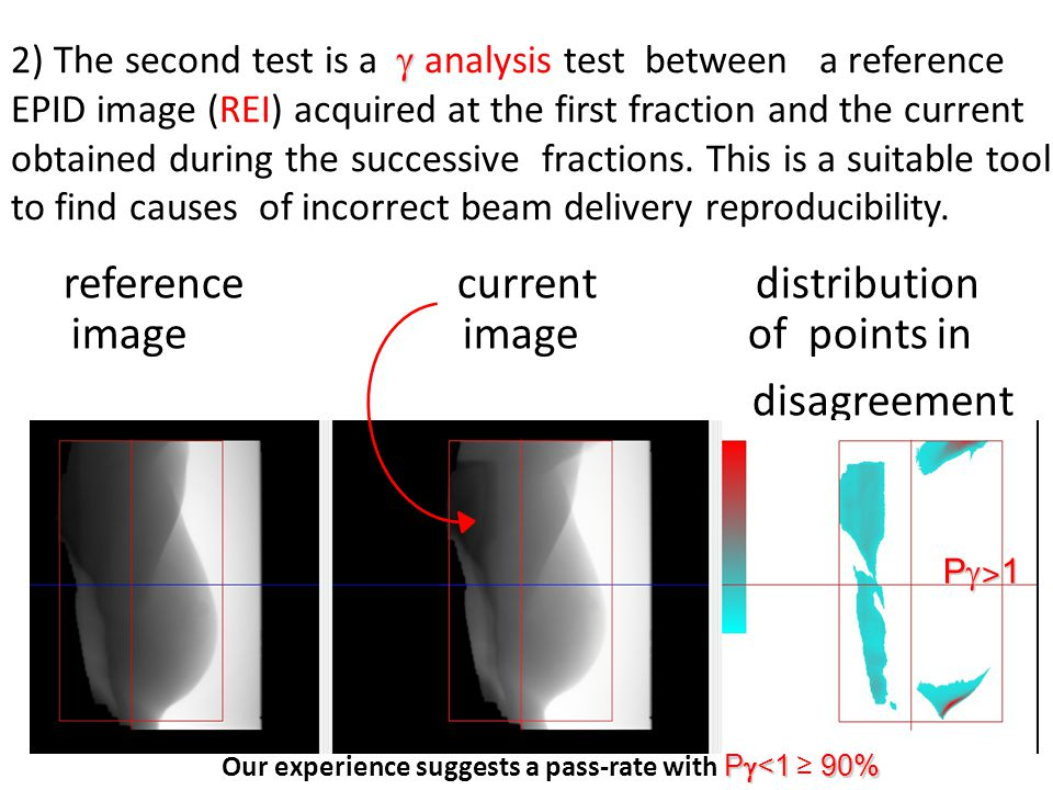  2) The second test is a  analysis test between a reference EPID image (REI) acquired at the first fraction and the current obtained during the successive fractions.