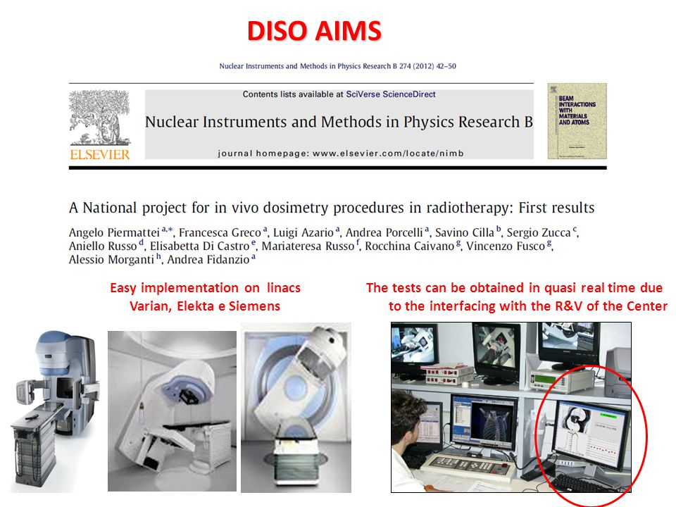 DISO AIMS DISO AIMS Easy implementation on linacs Varian, Elekta e Siemens The tests can be obtained in quasi real time due to the interfacing with th