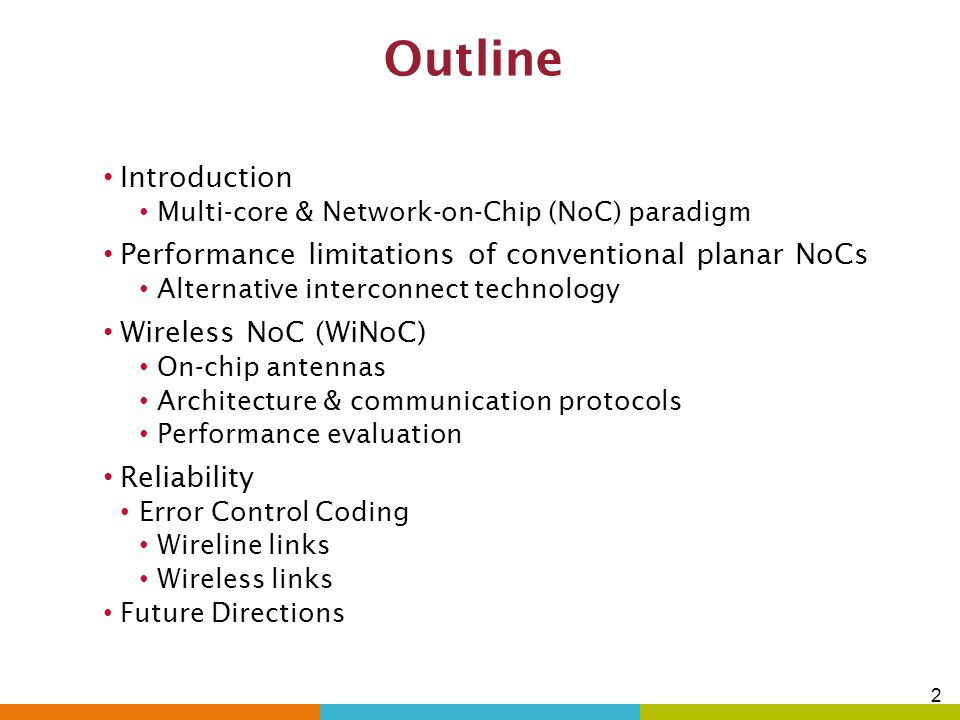 32 Comparative Performance Evaluation Case study:128 cores Achievable network bandwidth Packet Energy dissipation WiNoC performs best