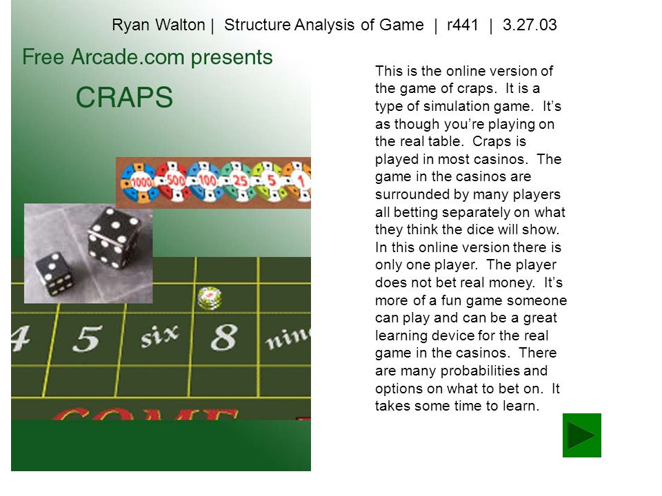 This is the online version of the game of craps. It is a type of simulation game.