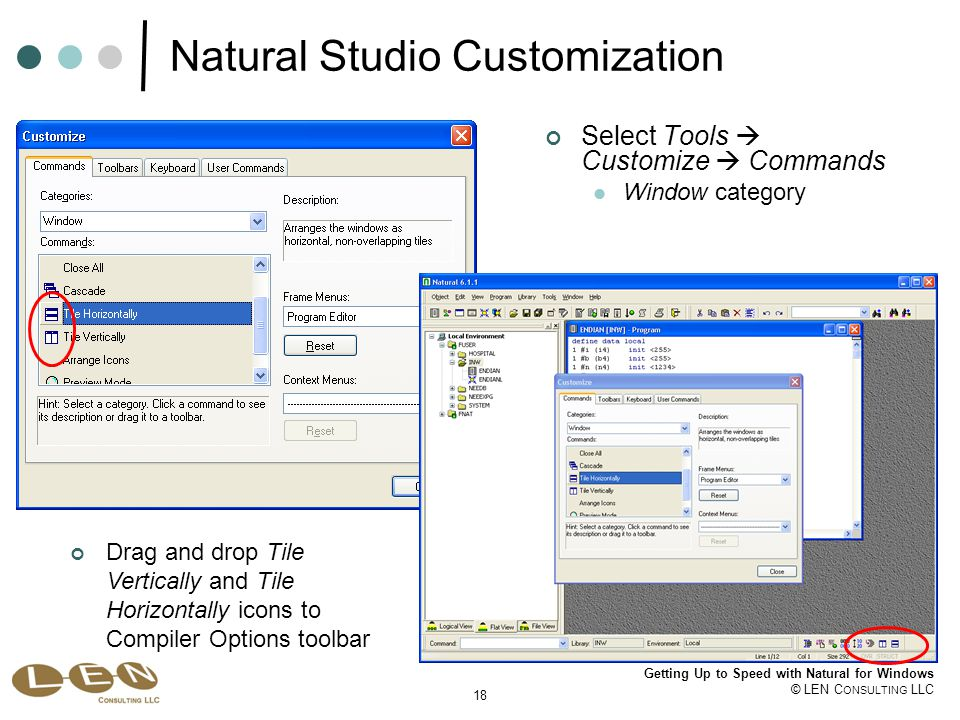 18 Getting Up to Speed with Natural for Windows © LEN C ONSULTING LLC Natural Studio Customization Select Tools  Customize  Commands Window category Drag and drop Tile Vertically and Tile Horizontally icons to Compiler Options toolbar