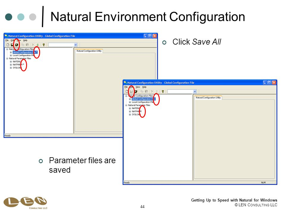 44 Getting Up to Speed with Natural for Windows © LEN C ONSULTING LLC Natural Environment Configuration Parameter files are saved Click Save All