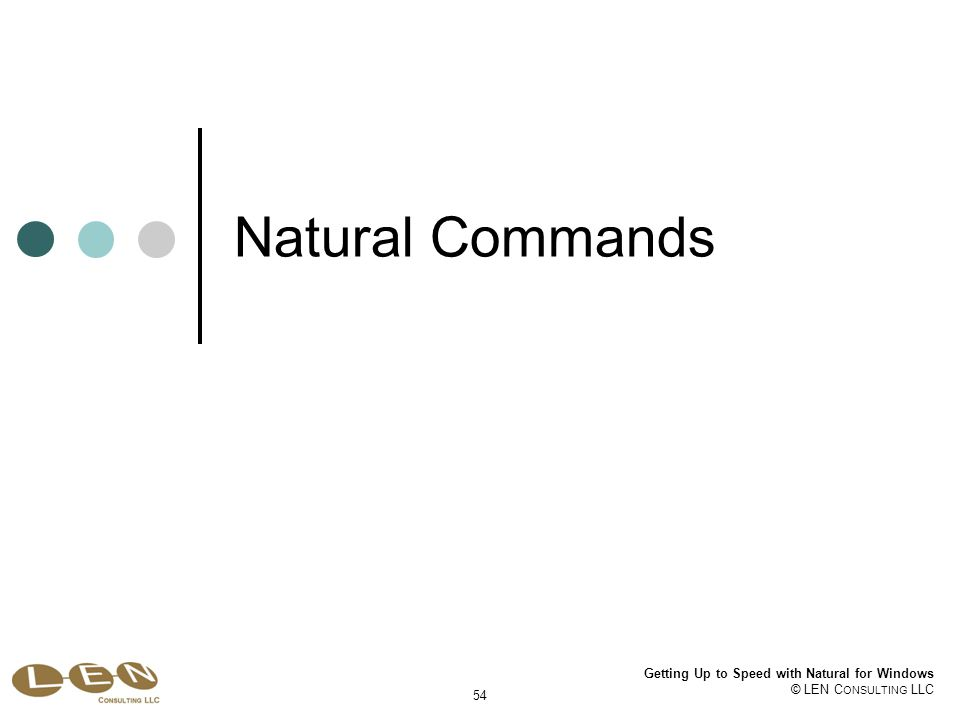 Getting Up to Speed with Natural for Windows © LEN C ONSULTING LLC 54 Natural Commands