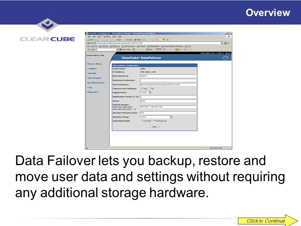 ClearCube Data Failover 3.0 Overview and Demonstration Rev. 5-30-03