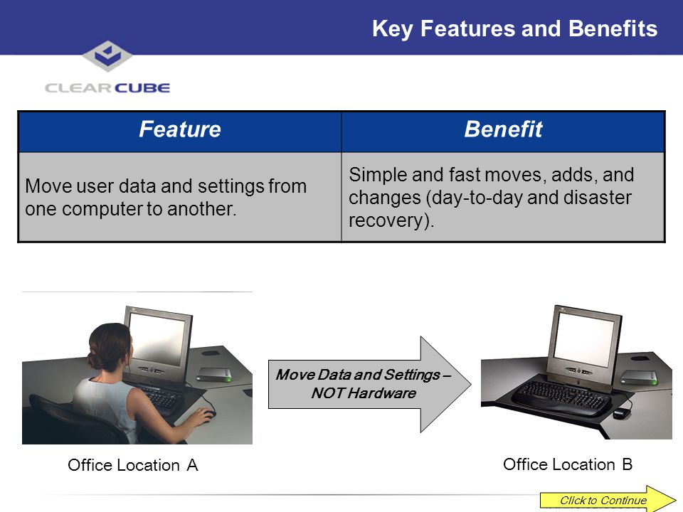 ClearCube Confidential Key Features and Benefits FeatureBenefit Recover user data and settings when switching to a spare Blade. No disruption in user