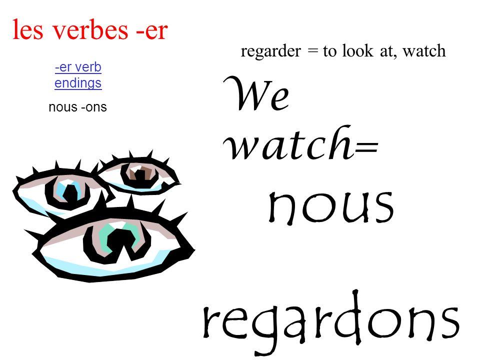 les verbes -er regarder = to look at, watch -er verb endings nous -ons We watch= nous regardons
