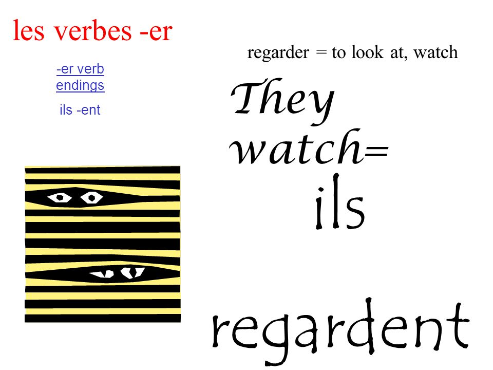 les verbes -er regarder = to look at, watch -er verb endings ils -ent They watch= ils regardent