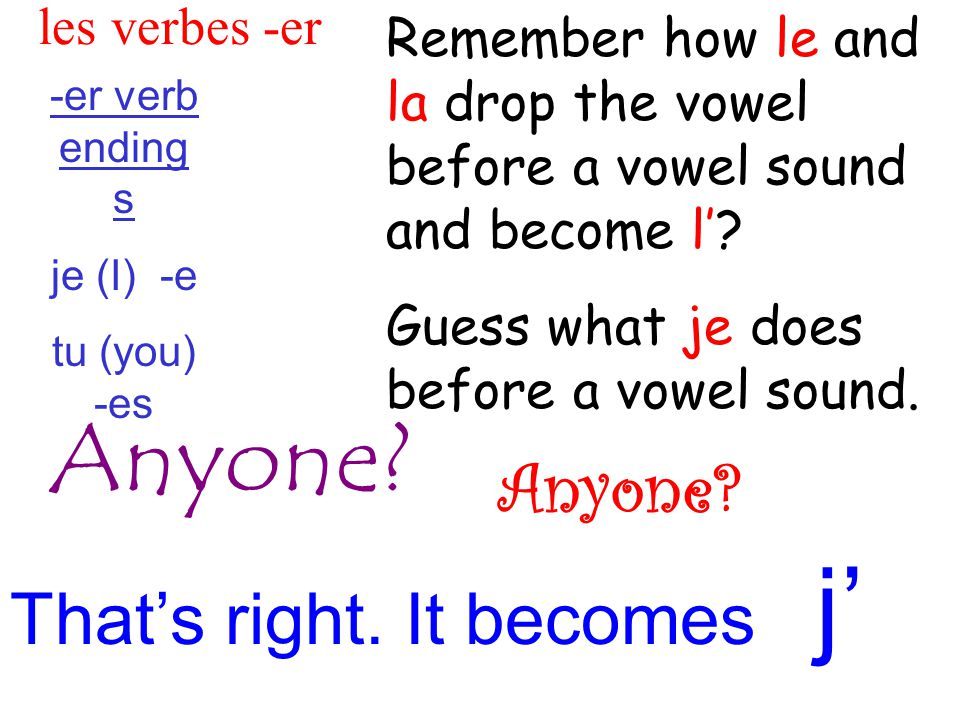les verbes -er -er verb ending s je (I) -e tu (you) -es Remember how le and la drop the vowel before a vowel sound and become l'.