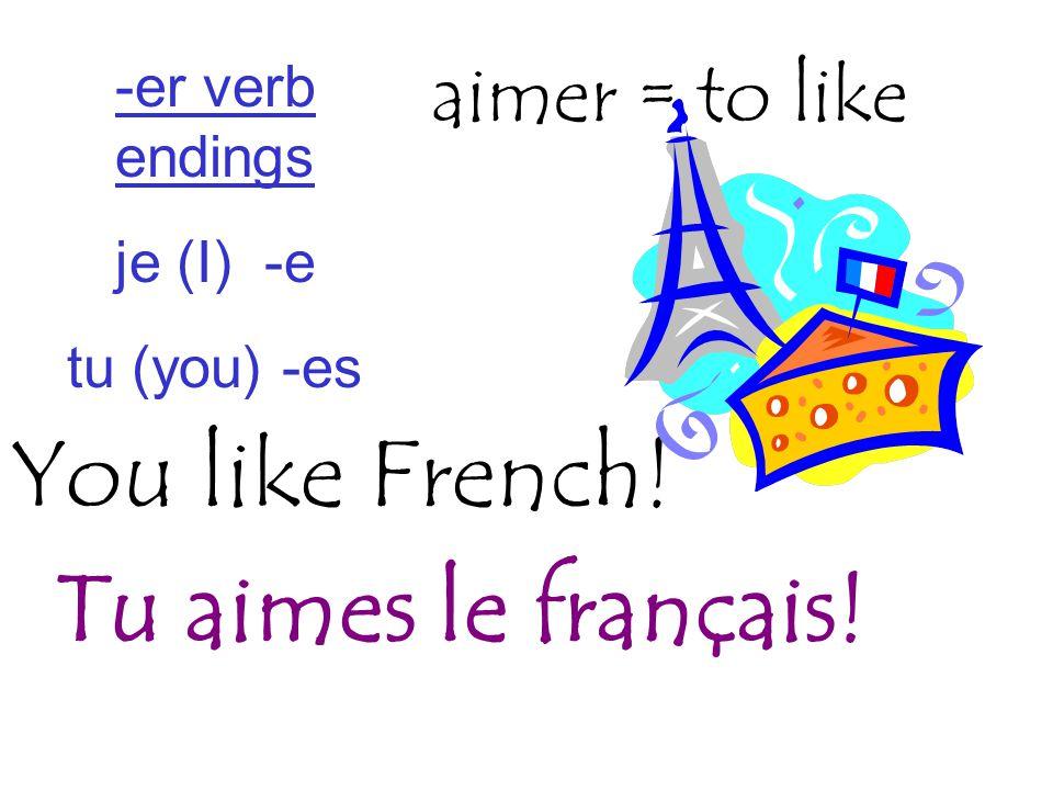 You like French! aimer = to like Tu aimes le français! -er verb endings je (I) -e tu (you) -es
