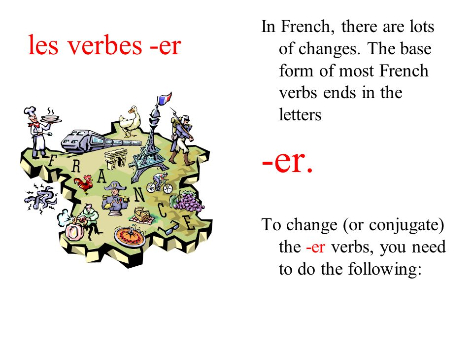 les verbes -er In French, there are lots of changes.
