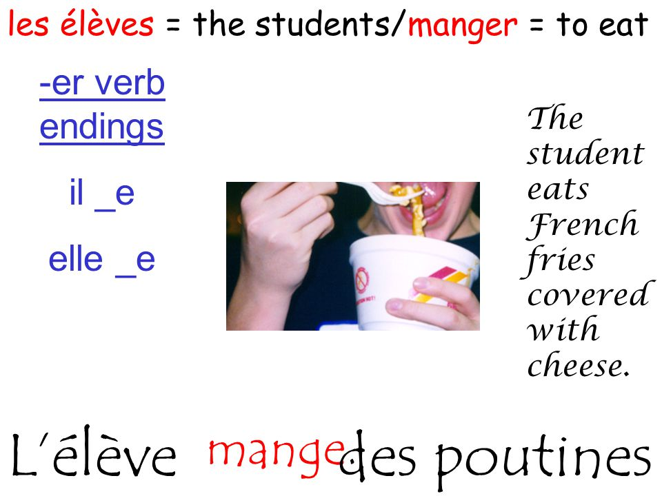 les élèves = the students/manger = to eat The student eats French fries covered with cheese.