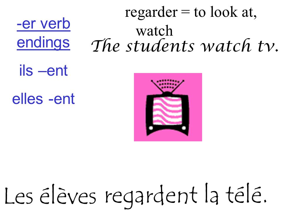 regarder = to look at, watch The students watch tv.