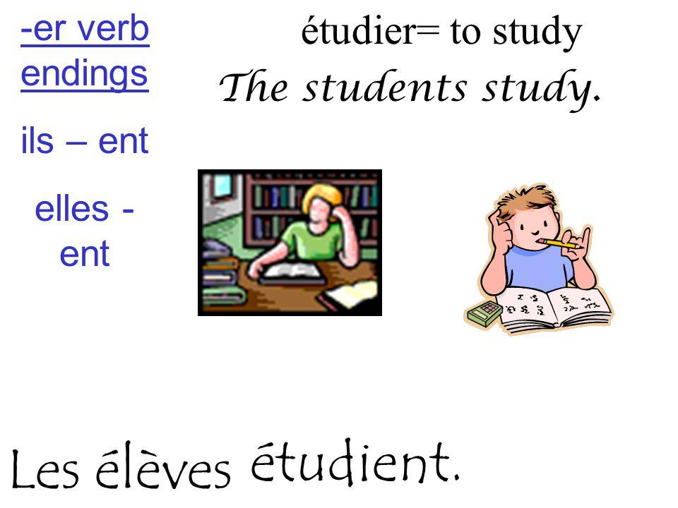 étudier= to study The students study. étudient. Les élèves -er verb endings ils – ent elles - ent