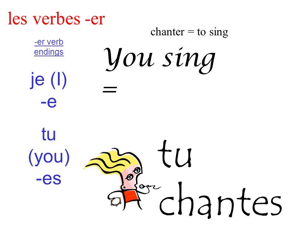 les verbes -er chanter = to sing -er verb endings je (I) -e tu (you) -es You sing = tu chantes