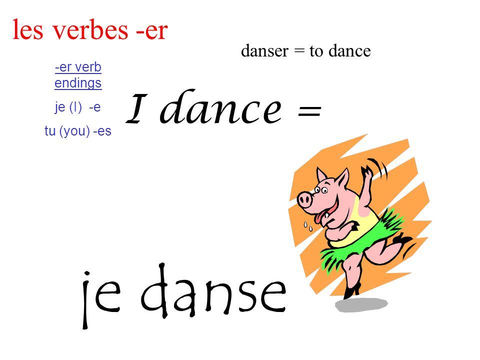 les verbes -er danser = to dance -er verb endings je (I) -e tu (you) -es I dance = je danse