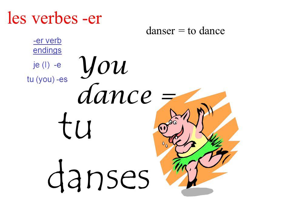 les verbes -er danser = to dance -er verb endings je (I) -e tu (you) -es You dance = tu danses