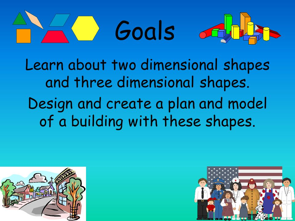 Goals Learn about two dimensional shapes and three dimensional shapes.