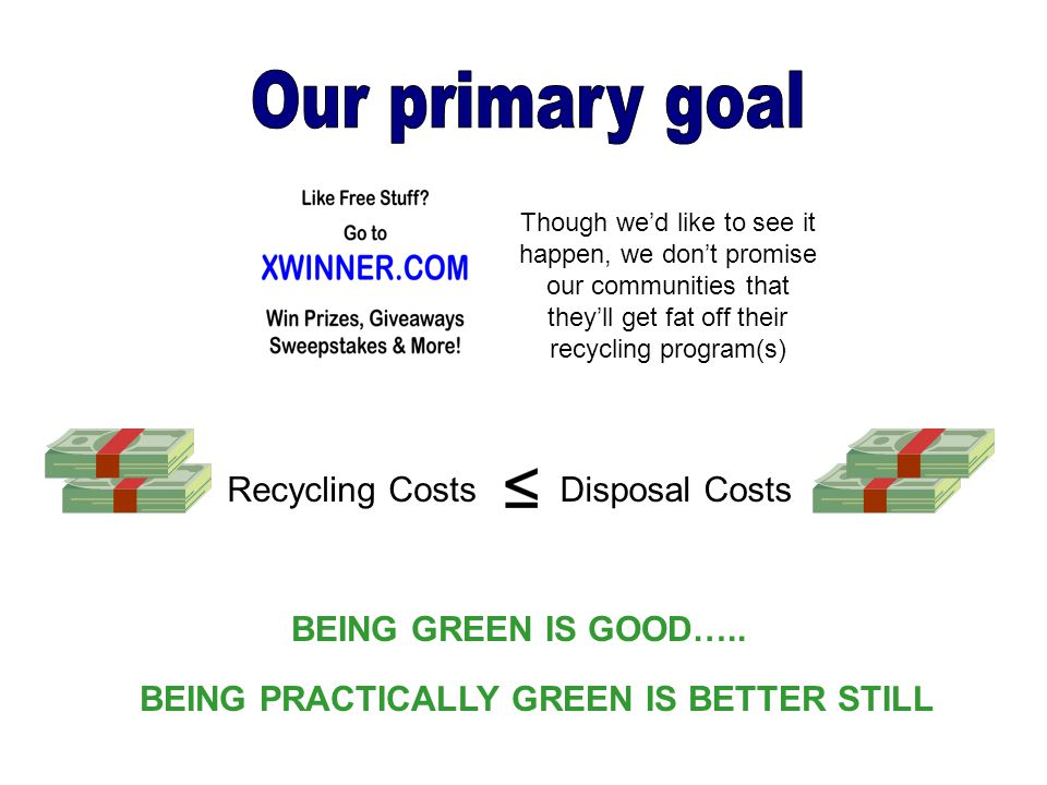 Recycling CostsDisposal Costs BEING GREEN IS GOOD….. BEING PRACTICALLY GREEN IS BETTER STILL Though we'd like to see it happen, we don't promise our c