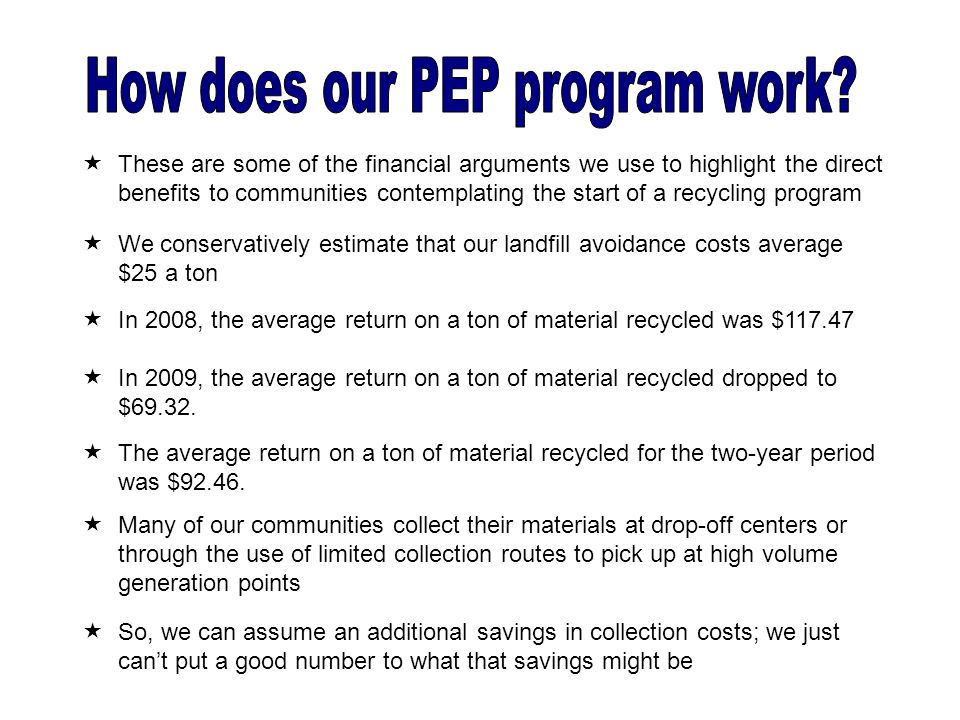  We conservatively estimate that our landfill avoidance costs average $25 a ton  In 2008, the average return on a ton of material recycled was $117.