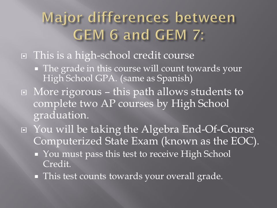  This is a high-school credit course  The grade in this course will count towards your High School GPA.