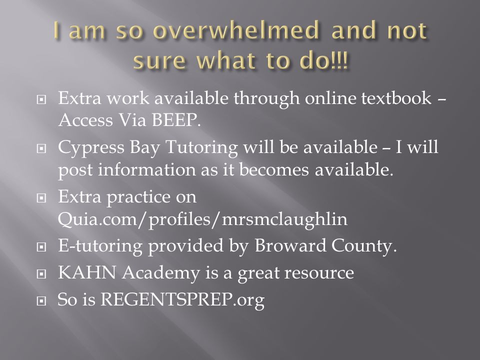  Extra work available through online textbook – Access Via BEEP.