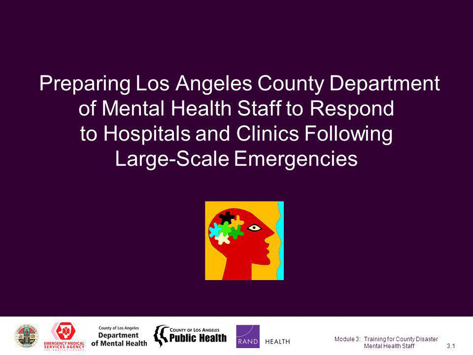 Module 3: Training for County Disaster Mental Health Staff3.42 Goals of PFA Evidence-informed principles for recovery Promote safety Promote calm Promote connectedness Promote self-efficacy Promote hope SOURCES: Hobfoll et al., in press; NCTSN/NCPTSD (2006).