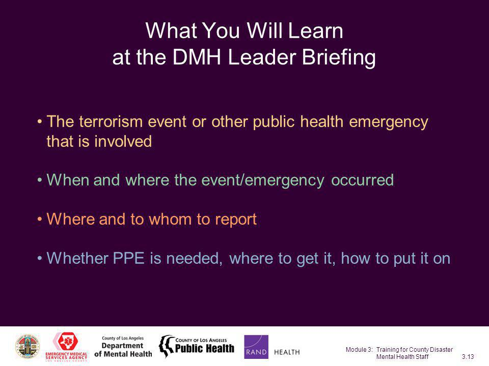 Module 3: Training for County Disaster Mental Health Staff3.13 What You Will Learn at the DMH Leader Briefing The terrorism event or other public heal