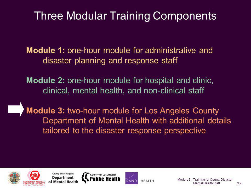 Module 3: Training for County Disaster Mental Health Staff3.53 Components of CISM Education Individual support Group meetings Support services for operations personnel and management Family support Referral Follow-up