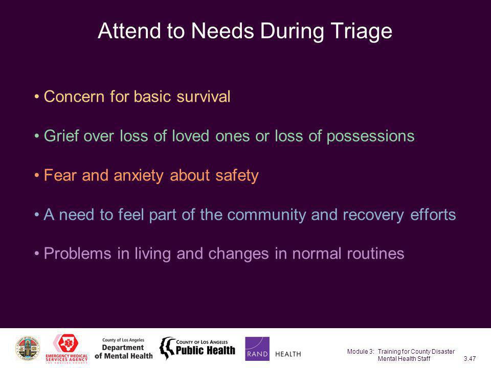 Module 3: Training for County Disaster Mental Health Staff3.47 Attend to Needs During Triage Concern for basic survival Grief over loss of loved ones