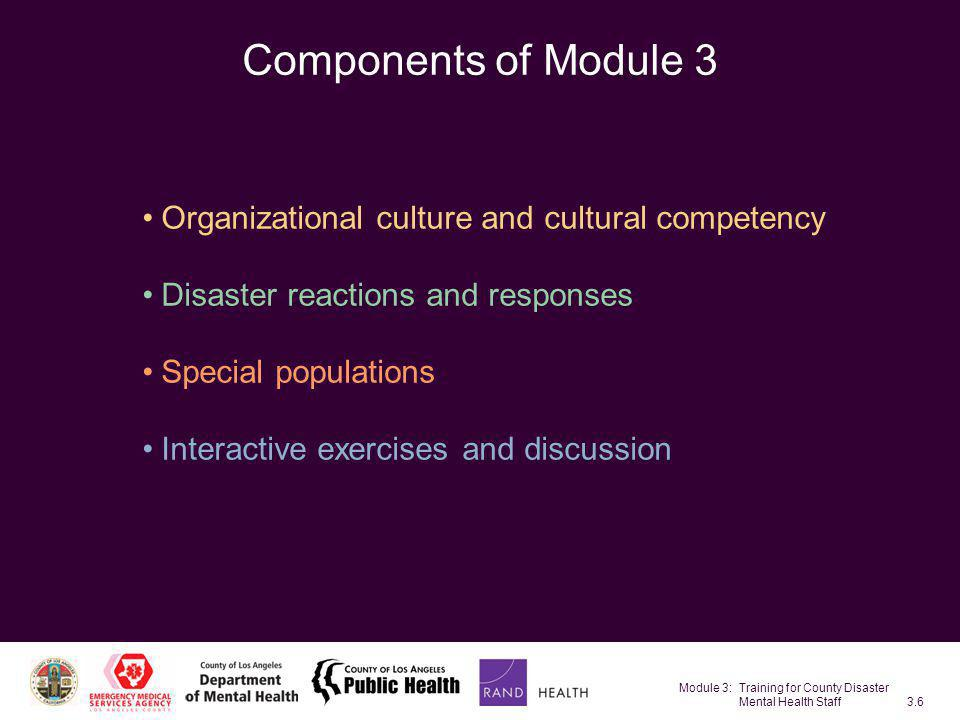 Module 3: Training for County Disaster Mental Health Staff3.77 Individuals Requiring Special Assistance Individuals include those with physical or developmental disabilities, sensory impairments, the frail elderly, children, etc.