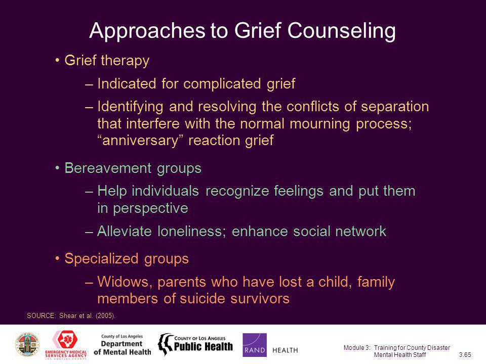 Module 3: Training for County Disaster Mental Health Staff3.65 Approaches to Grief Counseling Grief therapy –Indicated for complicated grief –Identify