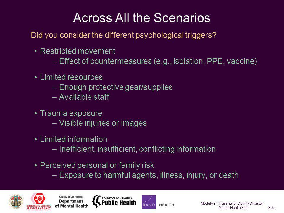 Module 3: Training for County Disaster Mental Health Staff3.85 Across All the Scenarios Did you consider the different psychological triggers? Restric