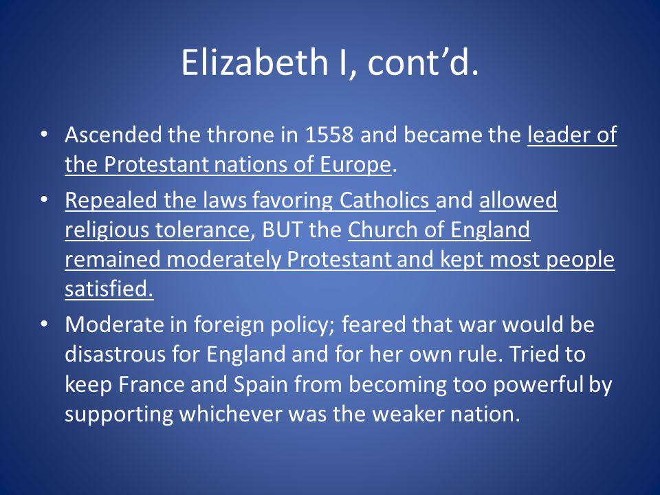 Elizabeth I, cont'd.