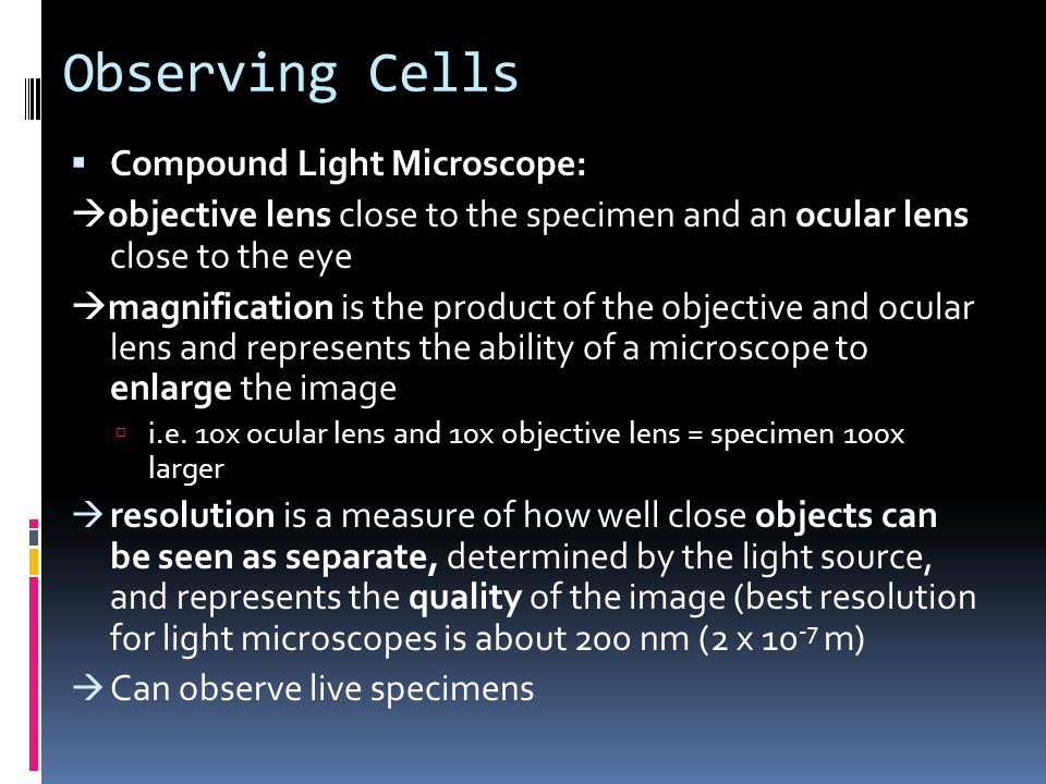 Observing Cells  Compound Light Microscope:  objective lens close to the specimen and an ocular lens close to the eye  magnification is the product