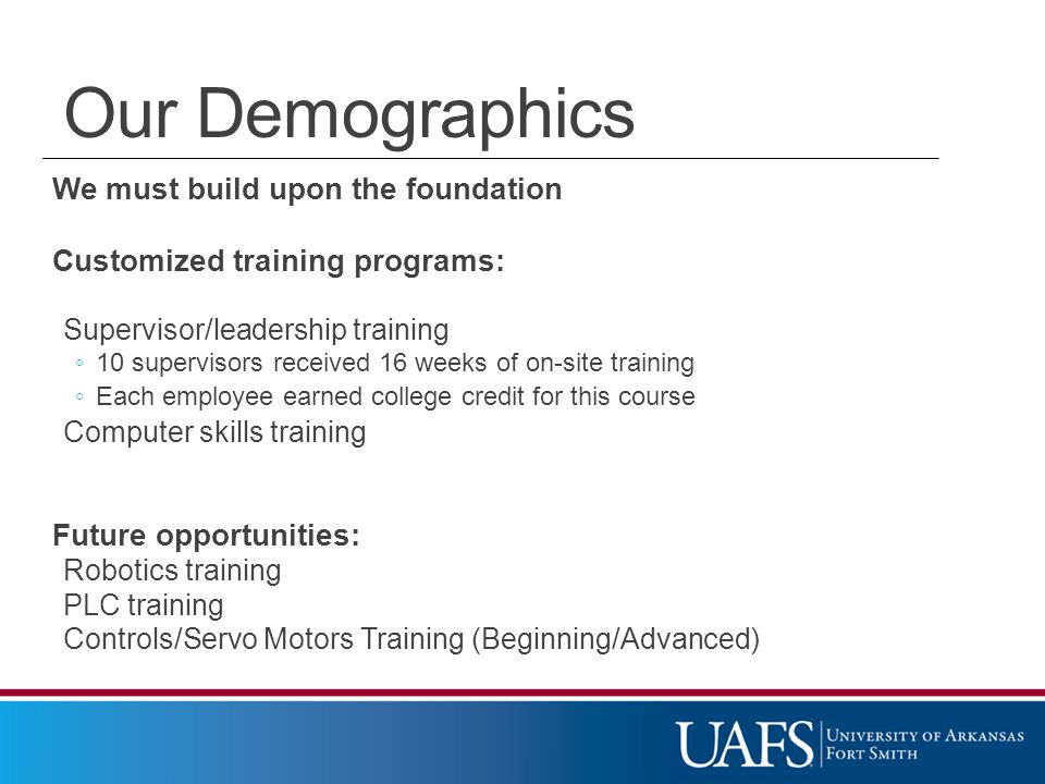 We must build upon the foundation Customized training programs: Supervisor/leadership training ◦ 10 supervisors received 16 weeks of on-site training ◦ Each employee earned college credit for this course Computer skills training Future opportunities: Robotics training PLC training Controls/Servo Motors Training (Beginning/Advanced) Our Demographics