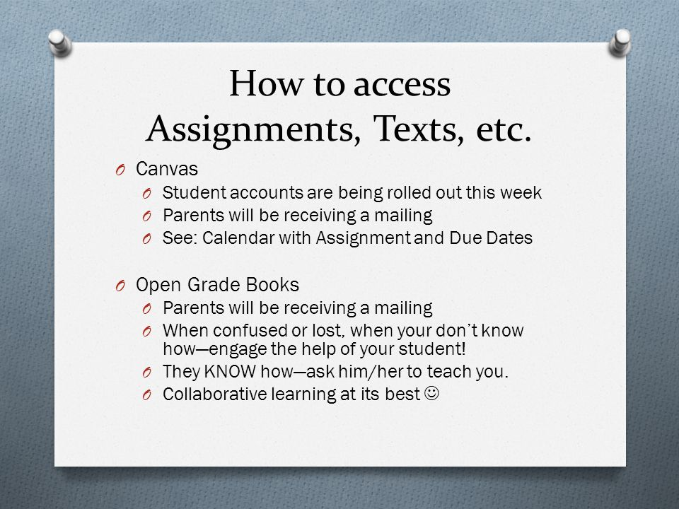 How to access Assignments, Texts, etc.
