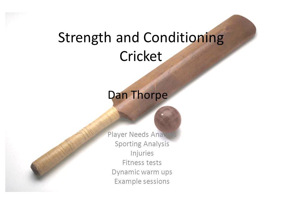 Strength and Conditioning Cricket Player Needs Analysis Sporting Analysis Injuries Fitness tests Dynamic warm ups Example sessions Dan Thorpe