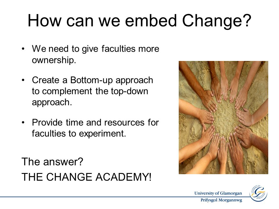 How can we embed Change. We need to give faculties more ownership.