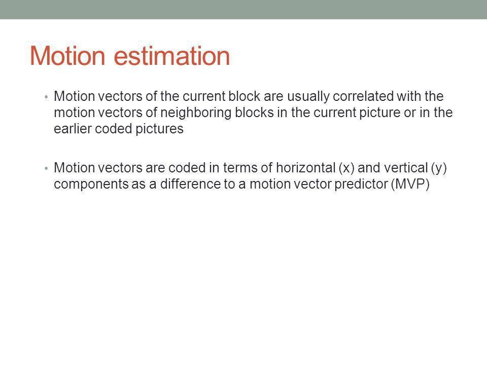 Motion estimation Motion vectors of the current block are usually correlated with the motion vectors of neighboring blocks in the current picture or i