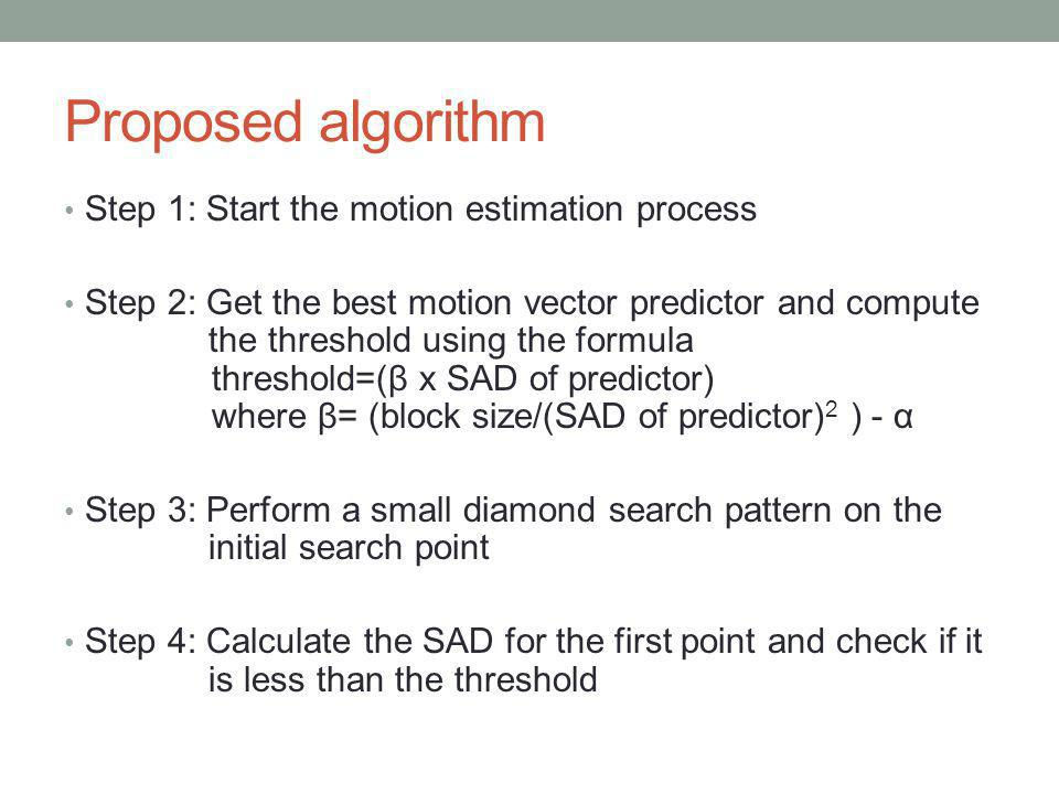 Proposed algorithm Step 1: Start the motion estimation process Step 2: Get the best motion vector predictor and compute the threshold using the formul