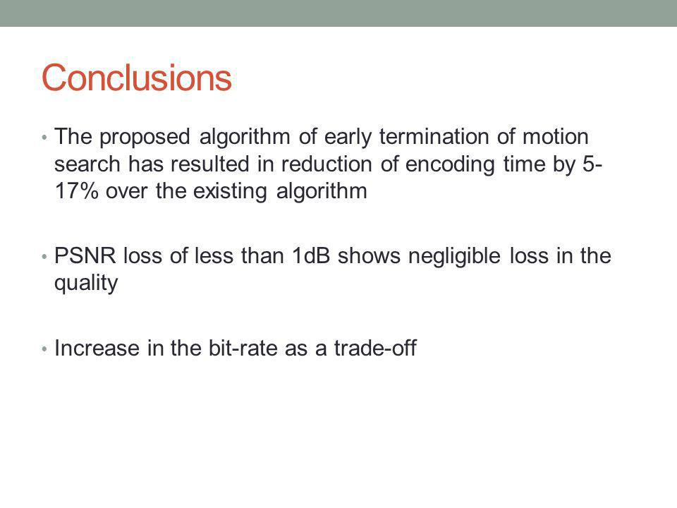 Conclusions The proposed algorithm of early termination of motion search has resulted in reduction of encoding time by 5- 17% over the existing algori