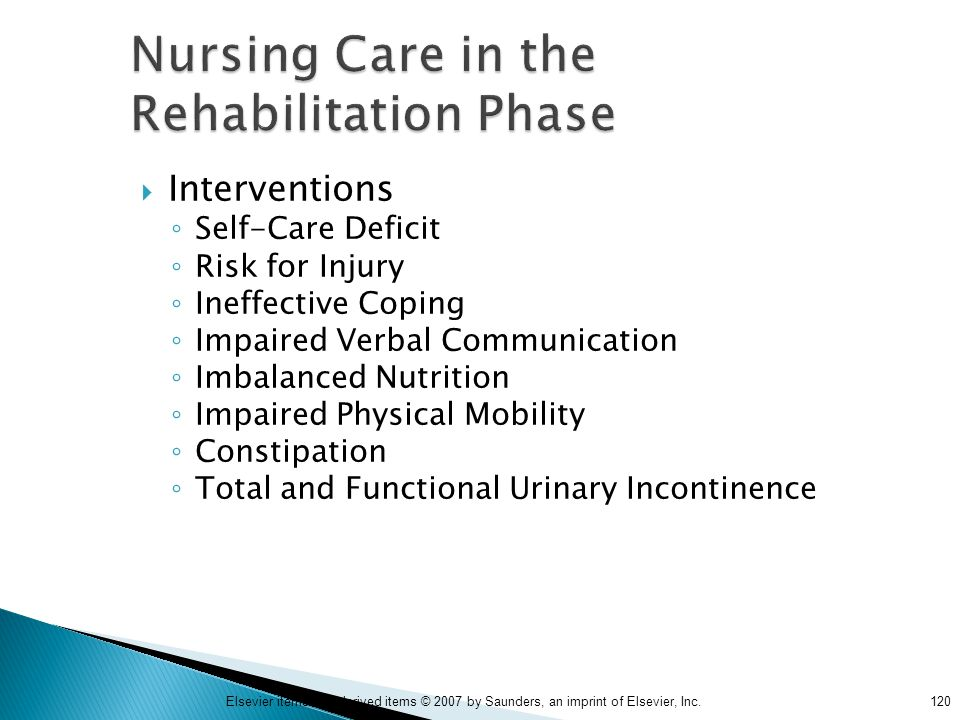 120Elsevier items and derived items © 2007 by Saunders, an imprint of Elsevier, Inc. Nursing Care in the Rehabilitation Phase  Interventions ◦ Self-C
