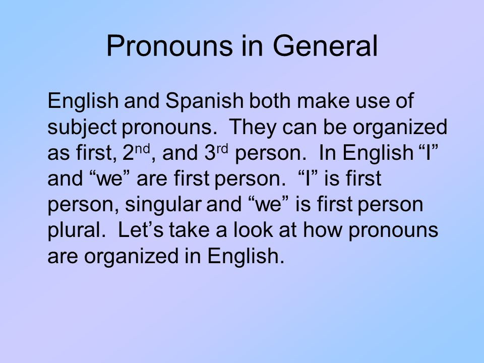 English Subject Pronouns I you he she it we they 1rst person 3rd person 2nd person SingularPlural