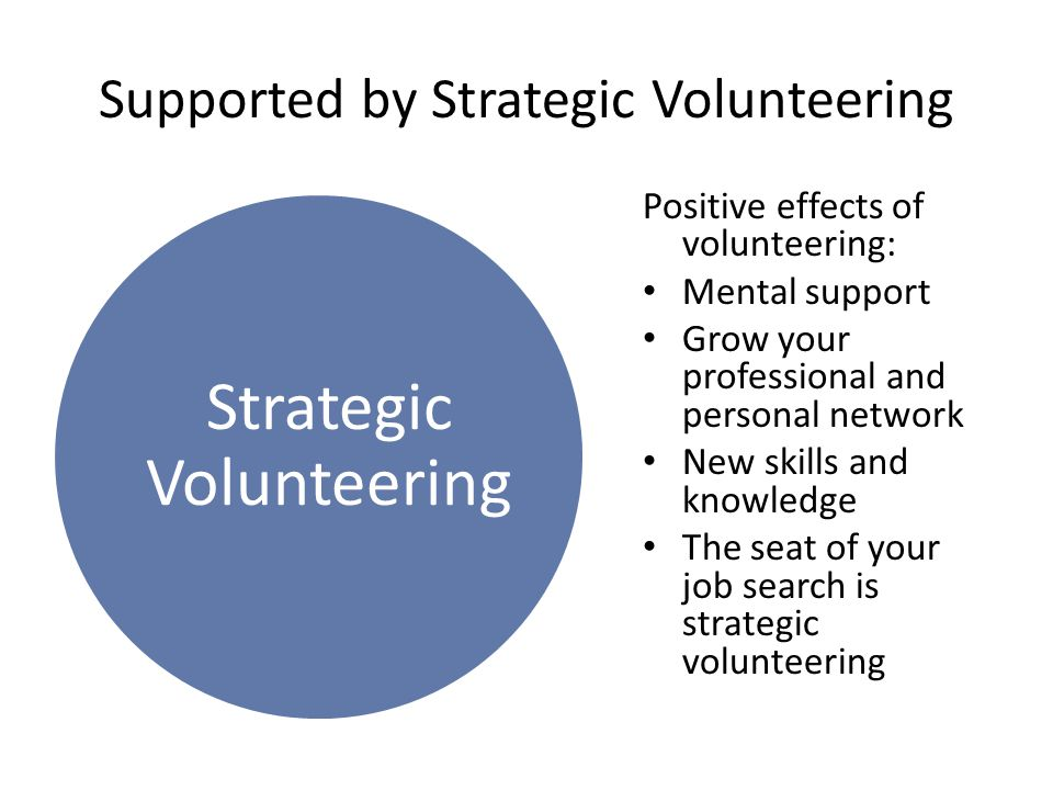 Strategic Volunteering Supported by Strategic Volunteering Positive effects of volunteering: Mental support Grow your professional and personal networ