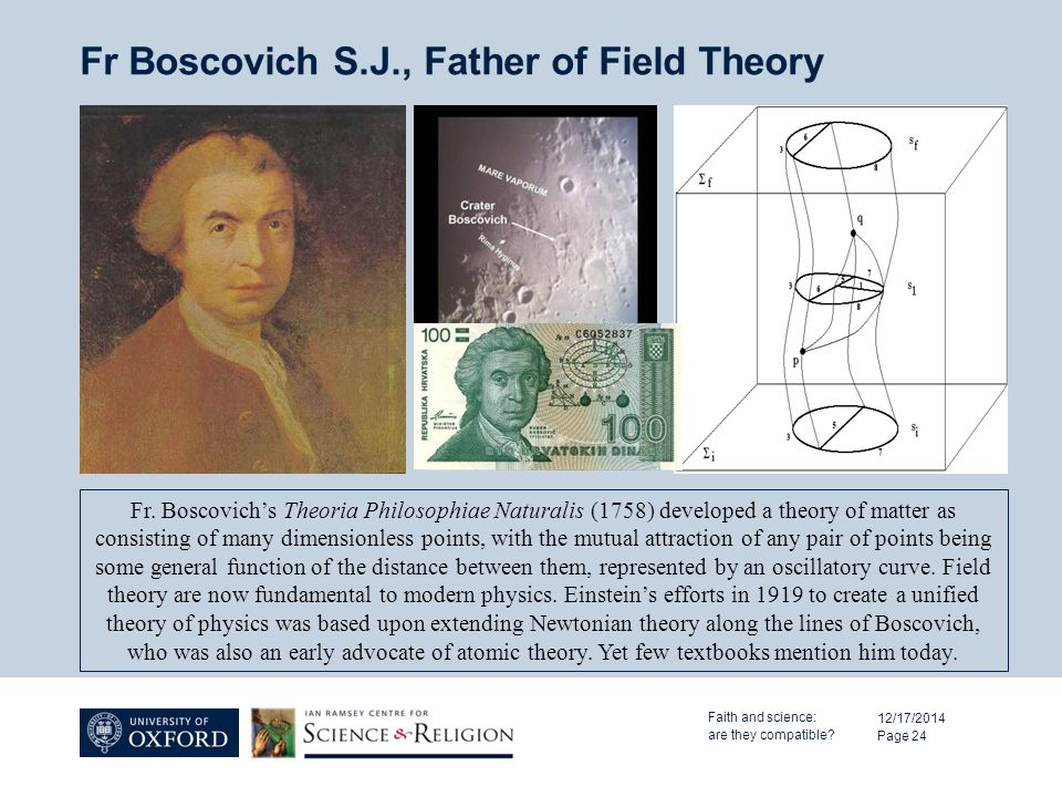 Fr Boscovich S.J., Father of Field Theory 12/17/2014 Page 24 Fr. Boscovich's Theoria Philosophiae Naturalis (1758) developed a theory of matter as con