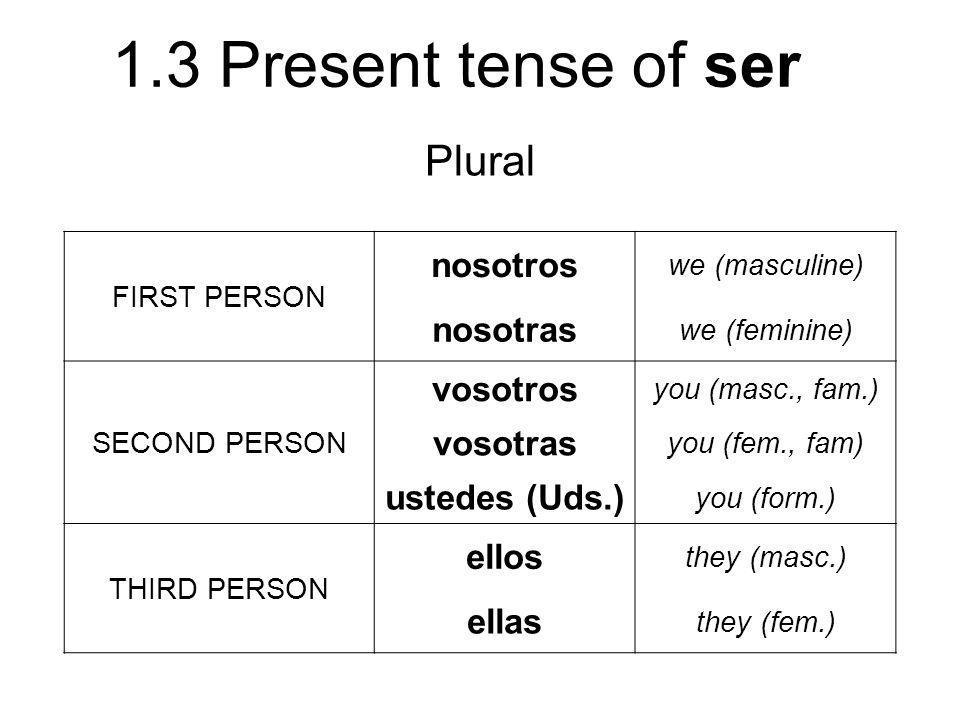 1.3 Present tense of ser Plural FIRST PERSON nosotros we (masculine) nosotras we (feminine) SECOND PERSON vosotros you (masc., fam.) vosotras you (fem
