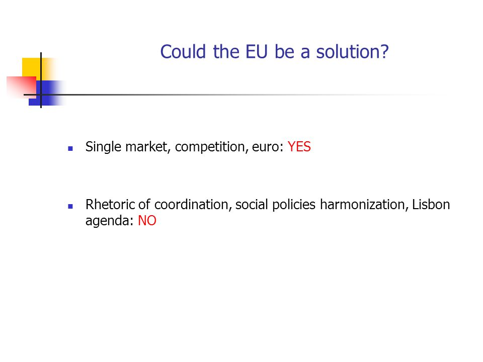 Could the EU be a solution? Single market, competition, euro: YES Rhetoric of coordination, social policies harmonization, Lisbon agenda: NO