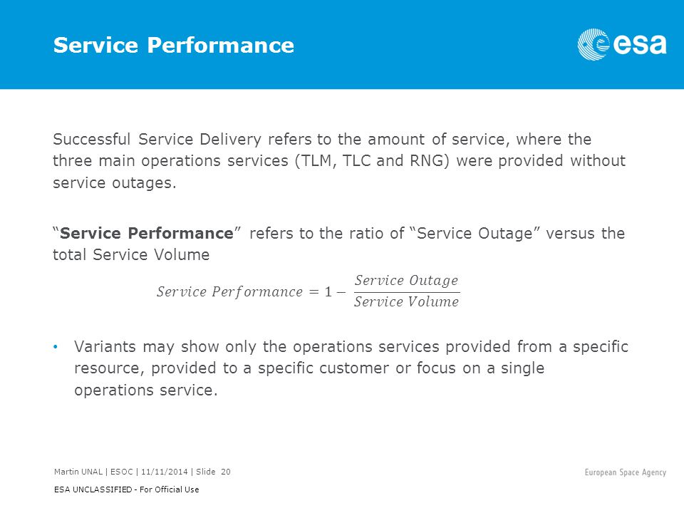 Martin UNAL | ESOC | 11/11/2014 | Slide 20 ESA UNCLASSIFIED - For Official Use Service Performance