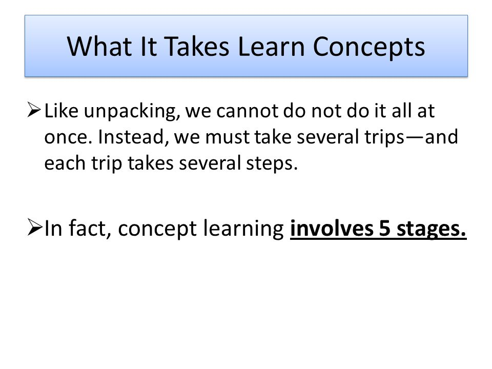 What It Takes Learn Concepts  Like unpacking, we cannot do not do it all at once.